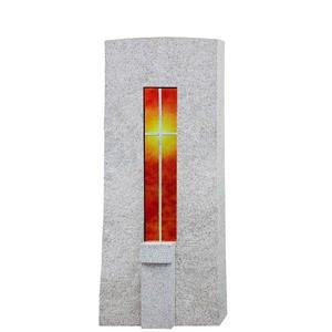 Amico Vetro Granit Grabstein Einzelgrab mit Glas Kreuz Element