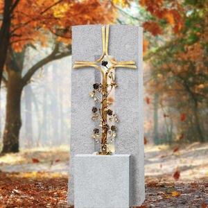 Amico Credo Granit Grabstein Einzelgrab mit Grabkreuz aus Schmiedebronze