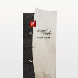 Forio Ruber Granit/Kalkstein Grabstein für Ein Dopppelgrab in Hell/Dunkel mit Glas Ornament Rose