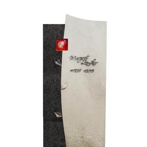 Forio Ruber Granit/Kalkstein Grabstein für Ein Einzelgrab in Hell/Dunkel mit Glas Ornament Rose