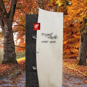 Forio Ruber Granit/Kalkstein Grabstein für Ein Urnengrab in Hell/Dunkel mit Glas Ornament Rose