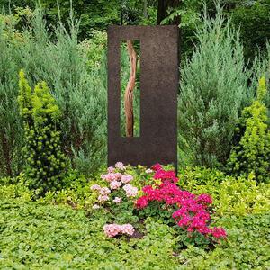 Albona Oris Granit Kindergrabstein mit Treibholz - Schwarzer Granit