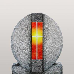 Aversa Vetro Granit Urnengrab Grabdenkmal mit Glas Symbol Kreuz Gelb/rot