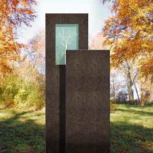 Amancio Novus Granit Urnengrab Grabstein mit Glas & Lebensbaum