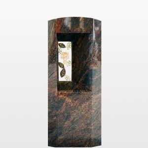 Fenestra Granit Urnengrabmal / Poliert mit Floralem Bronzeornament & Inschrift