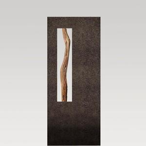 Albona Oris Granit Urnengrabstein mit Treibholz - Schwarzer Granit