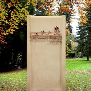 Lanet Handwerklicher Grabstein aus Sandstein mit Bronze Rose