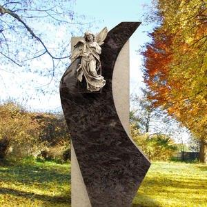 Cornus Handwerklicher Urnen Grabstein aus Granit mit Bronze Engel