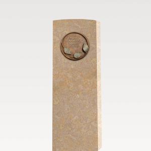 Lapis Folium Heller Kalkstein Grabstein mit Bronze Ornament / Floral - Doppelgrab