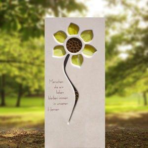 Helia Fiore Heller Kalkstein Kindergrabstein mit Glas Sonnenblume