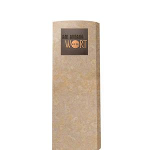 Memoria Clarus Heller Kindergrabstein aus Kalkstein mit Bronze Tafel
