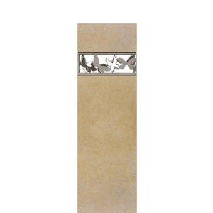 Papilio Alba Helles Kalkstein Doppelgrabmal mit Schmetterlingen (edelstahl)