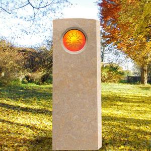 Memoria Solis Helles Kindergrabmal mit Glas Ornament Sonne