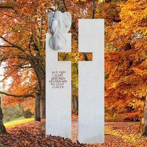 Antonio Angelo Helles Urnengrab Grabmal mit Kreuz & Engel