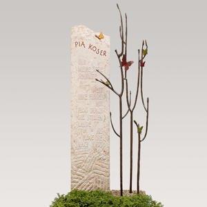 Bondeville Flora Kalkstein Doppelgrabmal Bronze Baum mit Schmetterlingen