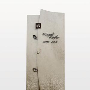 Forio Kalkstein Doppelgrabmal Hell mit Blatt & Rose Ornament