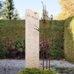 Bondeville Flora Kalkstein Einzelgrabmal Bronze Baum mit Schmetterlingen