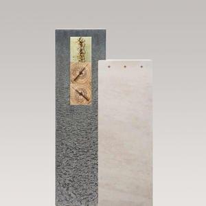 Casato Colore Kalkstein & Granit Grabmal mit Glas & Holzornament - Einzelgrab