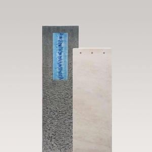 Casato Aqua Kalkstein & Granit Grabmal mit Glasornament Blau - Einzelgrab