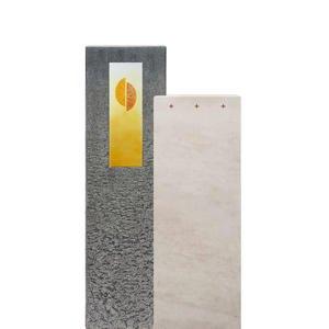 Casato Cruzis Kalkstein & Granit Grabmal mit Glasornament Kreuz - Einzelgrab
