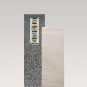 Casato Silicia Kalkstein & Granit Urnengrabmal mit Flusskiesel