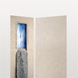 Fluis Petram Kalkstein Urnengrab Grabstein mit Glas & Wasserfall
