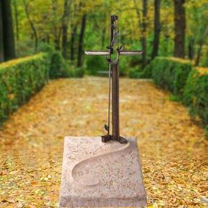 Edera Kalkstein Urnengrab Platte mit Bronze Kreuz