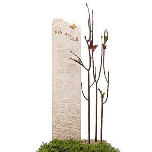 Bondeville Flora Kalkstein Urnengrabmal Bronze Baum mit Schmetterlingen