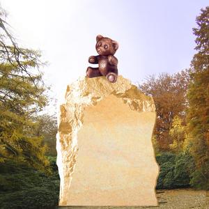 Carlos Kindergrabstein mit Bronze Teddy