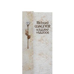 Xavare Kleine Stele für ein Einzelgrab mit Rose aus Bronze