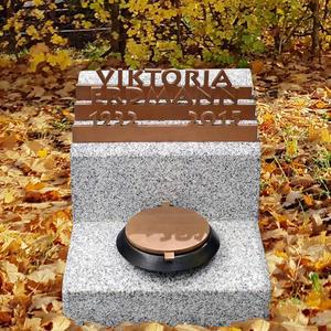 Memento Gloria Kleiner Urnengrabstein / Granit mit Weihwasserkessel & Bronze Inschrift