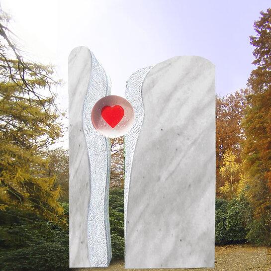 Lubliana – Zweiteiliges Grabmal mit Glas Herz