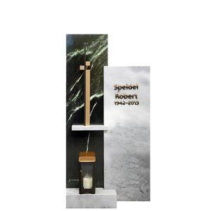 Cuzcis Verde Mehrteiliger Urnengrab Grabstein in Marmor grün/weiß mit Kreuz Symbol