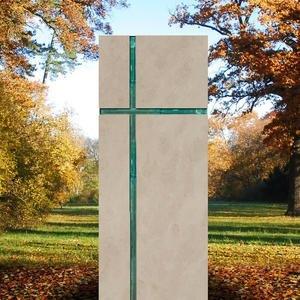 Amadei Crucis Modernes Urnengrabmal mit Glas - Religiös/christliche Symbolik in Kalkstein