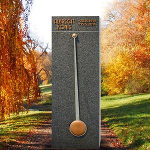 Amato Tempus Moderner Design Einzelgrabstein mit Pendel in Bronze / Edelstahl