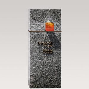 Domus Lumis Moderner Doppelgrab Grabstein mit Granit, Bronze & Glas