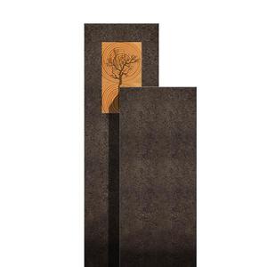 Amancio Lignum Moderner Doppelgrabstein - Granit - Zweiteilig mit Holz & Lebensbaum