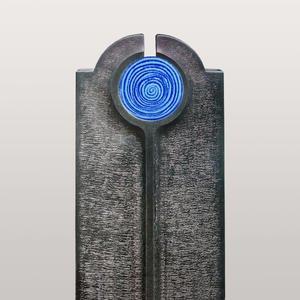 Novara Aqua Moderner Einzelgrabstein mit Blauem Glas Symbol Spirale