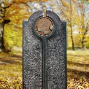 Novara Flora Moderner Einzelgrabstein mit Bronze Schrifttafel Rund