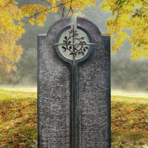 Novara Cruzis Moderner Einzelgrabstein mit Floralem Bronze Kreuz Symbol