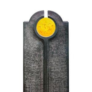 Novara Sole Moderner Einzelgrabstein mit Glas Symbol Gelb