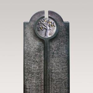 Novara Albero Moderner Einzelgrabstein mit Granit Lebensabum Relief Rund