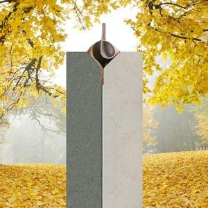 Mondavio Moderner Einzelgrabstein Zweifarbig aus Jura Kalkstein mit Bronze Ornament