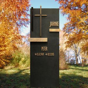 Pierre Noir Moderner Familiengrabstein aus Schwarzem Granit mit Kreuz