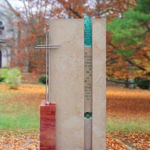 Ginata Moderner Grabstein Farbig mit Glaseinsatz & Kreuz