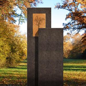 Amancio Lignum Moderner Grabstein - Granit - Zweiteilig mit Holz & Lebensbaum