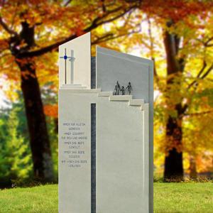 Bianco Moderner Grabstein Kalkstein Treppe & Kreuz für ein Einzelgrab