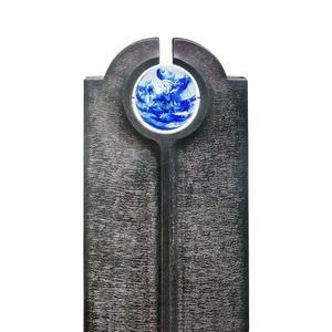Novara Icona Moderner Granit Doppelgrabstein mit Blauer Glas Kugel