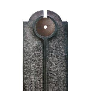 Novara Disco Moderner Granit Doppelgrabstein mit Bronze Scheibe