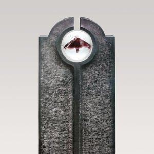 Novara Fiore Moderner Granit Doppelgrabstein mit Glas Kugel & Blume